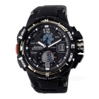 SANDA 50m Waterproof japonês Movimento Duplo Visor Sports Watch - Black (1 x CR2016, 1 x SR626W)