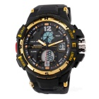 SANDA 50m Waterproof Japanese Movement Sports Watch - Black + Golden
