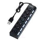 7-Port USB 2.0 HUB w/ Switch + EU Plug Power Adapter - Black (EU Plug)