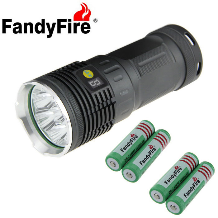 FandyFire T6 XM-L 7-LED 7000lm Cold White Outdoor Flashlight - Silver + Grey (4 x 18650)18650 Flashlights<br>Form  ColorSilver + GreyBrandOthers,FandyFireModelT6Quantity1 DX.PCM.Model.AttributeModel.UnitMaterialAluminum alloyOther FeaturesRechargeable,Others,With power gear indicatorEmitter BrandOthers,N/ALED TypeXM-LEmitter BINT6Number of Emitters7Color BINCold WhiteWorking Voltage   3.6~4.2 DX.PCM.Model.AttributeModel.UnitPower Supply4 x 18650Current3000 DX.PCM.Model.AttributeModel.UnitOutput(lumens)501-800Actual Lumens7000 DX.PCM.Model.AttributeModel.UnitRuntime(hours)3.1-4Runtime3-4 DX.PCM.Model.AttributeModel.UnitNumber of Modes4Mode ArrangementHi,Mid,Low,Slow Strobe,Others,Note: Press 2 seconds is slow flashMode MemoryNoSwitch TypeReverse clickySwitch LocationSideLensGlassReflectorAluminum SmoothBeam Range200 DX.PCM.Model.AttributeModel.UnitStrap/ClipStrap includedPacking List1 x Flashlight1 x Rope (about 26cm long)2 x 18650 battery cases4 x 18650 batteries without board (2000mAh)1 x 18650 Charger1 x US plug power adapter (Size: 5.5x2.1, 92cm cable, lNPUT: 100-240V AC 50 / 60Hz, OUTPUT: 4.2V 1A)1 x Rubber gasket<br>