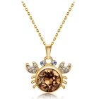 Xinguang Womens Classic Crab Crystal Necklace - Golden