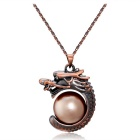 Xinguang Women's Ancient Chinese Dragon Style Imitation Pearl Inlaid Pendant Necklace - Bronze