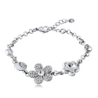 Xinguang Women's Sweet Plum Blossom Crystal Bracelet - Silver