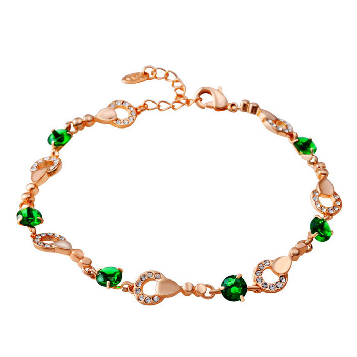 Xinguang Women's Pure Fine Crystal Inlaid Bracelet - Rose Golden