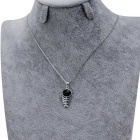 Xinguang Women's Fishbone Style Crystal Pendant Necklace - Silver