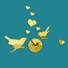 CY068Z Bird Decoration 3D Acrylic Sitting Room Movable Mirror Wall Clock Sticker - Gold