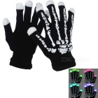 Multifunction Outdoor Skull Pattern Cycling Hiking RGB LED Gloves - Black + White (Pair)