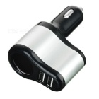 Cwxuan 2-USB 5V 3.1A Car Charger w/ Cigarette Lighter - Black + Silver