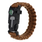 Outdoor Survival Paracord Bracelet w/ Survival Whistle / Flint / Scraper / Compass - Brown