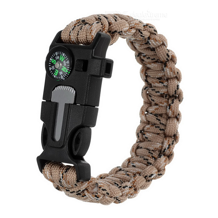 Survival Paracord Bracelet w/ Whistle, Flint, Compass - Desert CAMOFire Starting Gear<br>Form ColorDesert CamouflageQuantity1 DX.PCM.Model.AttributeModel.UnitMaterial550 paracord + ABSBest UseBackpacking,Camping,Mountaineering,TravelCertificationCEPacking List1 x Bracelet<br>