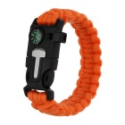 Outdoor Survival Paracord Bracelet w/ Survival Whistle / Flint / Scraper / Compass - Orange