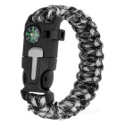 Outdoor Survival Paracord Bracelet w/ Survival Whistle / Flint / Scraper / Compass - Black + White