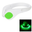 Outdoor Sports Cycling Jogging Green Light 2-Mode Safety Warning Shoes Wrist LED Light Clip - White