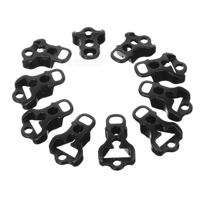 Tent Cord Rope Guy Line Runner Fastener Tightener - Black (10PCS)
