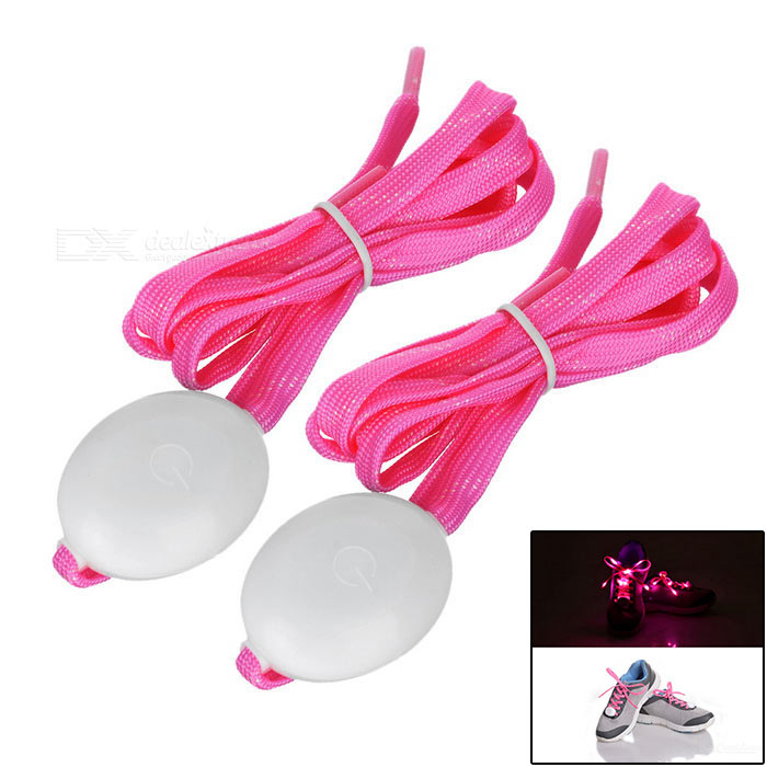 3-Mode Pink Light Flashing LED Shoelaces for Cycling - Pink (Pair)