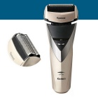 KM-8102 Professional Men's Shaver Full Body Washable Machine w/ 3 Blades - Gold + Champagne