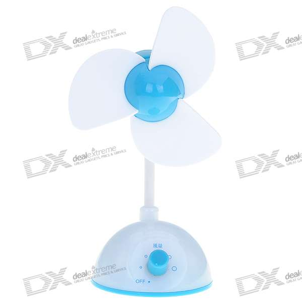 USB Powered Adjustable Wind Speed 3 Blade Cooling Fan (Blue + White)
