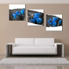 "Bizhen Frame-Free 3 Panels Blue Tulip Painting Canvas Wall Decor Murals (59.06"" x 19.69"")"