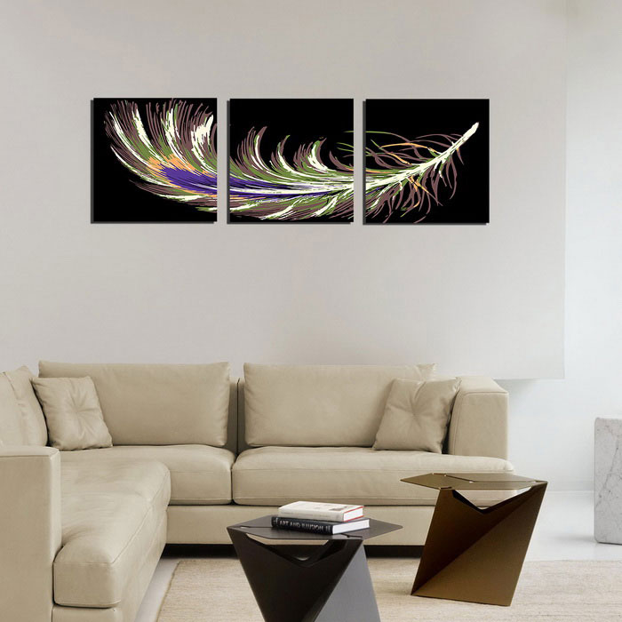 Bizhen feather painting canvas wall decor murals black for Canvas mural painting