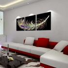 Bizhen Feather Painting Canvas Wall Decor Murals - Black (3PCS)