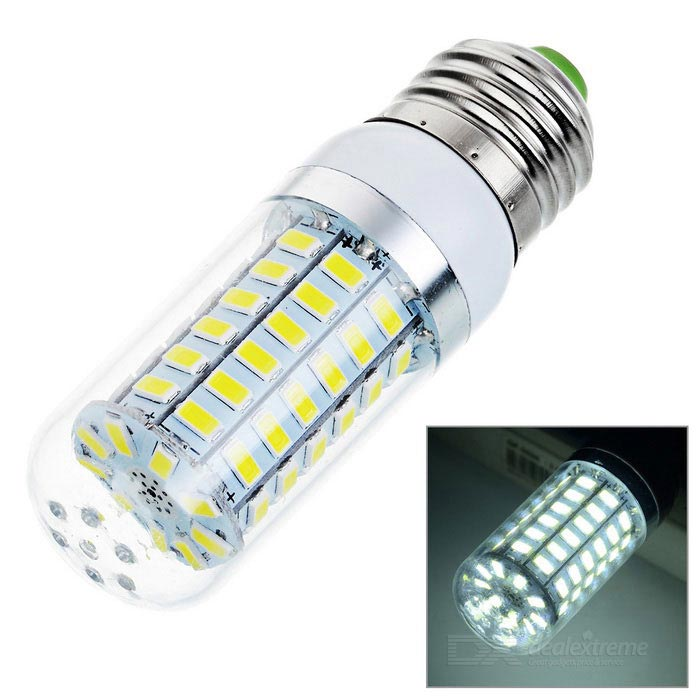 E27 3.7W 69-5730 SMD 450lm 6500K Cold White Light Corn Lamp (AC 220V)E27<br>Form  ColorWhite + Light YellowColor BINCool WhiteMaterialABSQuantity1 DX.PCM.Model.AttributeModel.UnitPowerOthers,3.7WRated VoltageAC 220 DX.PCM.Model.AttributeModel.UnitConnector TypeE27Emitter TypeOthers,5730Total Emitters69Actual Lumens450 DX.PCM.Model.AttributeModel.UnitColor Temperature12000K,Others,6000~6500KDimmableNoPacking List1 x LED light<br>