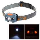 Mini High Light 4- Mode 1-White LED + 2-Red LED Headlamp Warning Light - Black + Grey + Multicolor