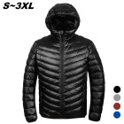 Men's Ultra Light Thin Hooded Down Jacket Coat - Black (L)