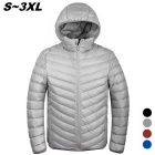 Men's Ultra Light Thin Hooded Down Jacket Coat - Grey (M)