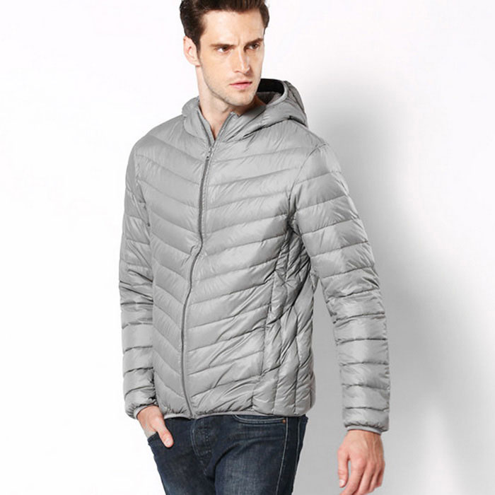 77e38f19658 Men's Ultra Light Thin Hooded Down Jacket Coat - Grey (XXL)
