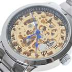 IK Stainless Steel Self-Winding Mechanical Wristwatch (Golden + Silver + Blue)