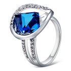 Xinguang Women's Beautiful Elegant Crystal Ring - Silver + Blue (US Size 9)