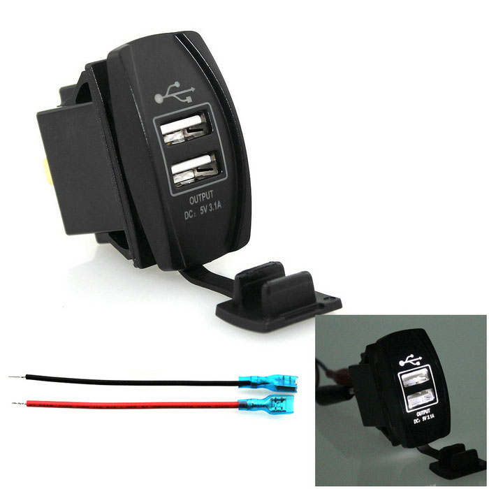 Car Ship 5V 2-USB Car Charger Adapter w/ White LED Indicator - BlackCar Power Chargers<br>Form  ColorBlackModelC5023W-15L-ZQuantity1 DX.PCM.Model.AttributeModel.UnitMaterialABSShade Of ColorBlackInput Voltage12~24 DX.PCM.Model.AttributeModel.UnitOutput Voltage5 DX.PCM.Model.AttributeModel.UnitOutput Current3.1 DX.PCM.Model.AttributeModel.UnitInterfaceUSBApplicationApplicable to automobiles, motorcycles, ships, saloon car, yachtOther FeaturesOutput Current: 3.1A1A+2.1A; LED: whiteCertificationCEPacking List1 x USB charger2 x 15cm cable<br>