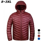 Men's Ultra Light Thin Hooded Down Jacket Coat - Wine Red (L)