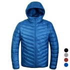 Men's Ultra Light Thin Hooded Down Jacket Coat - Blue (M)