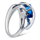 Xinguang Women's Beautiful Elegant Crystal Ring - Silver + Blue (US 6)