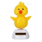Solar Powered Cute Dancing Chick Home Desk Table Decoration Car Decor - White + Yellow
