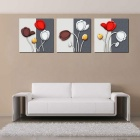 """Bizhen Frame-free Red Tulips Painting Canvas Wall Decor Murals 3 Panels (59.06""""x19.69"""")"""