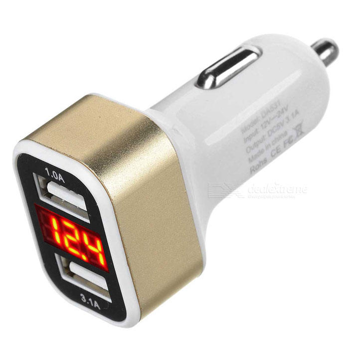 DA531 USB Car Charger w/ Current / Voltage Display - White + Champagne