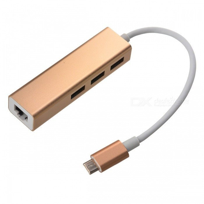 USB 3.1 Type C to RJ45 1000M Network Adapter + USB 3.0 Hub - Champagne