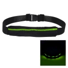 Outdoor Sports Running Jogging 3-Mode Green Light LED Safety Waist Bag Pouch Pack - Black + Green