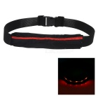 Outdoor Sports Running Jogging 3-Mode Red Light LED Safety Waist Bag Pouch Pack - Black + Red
