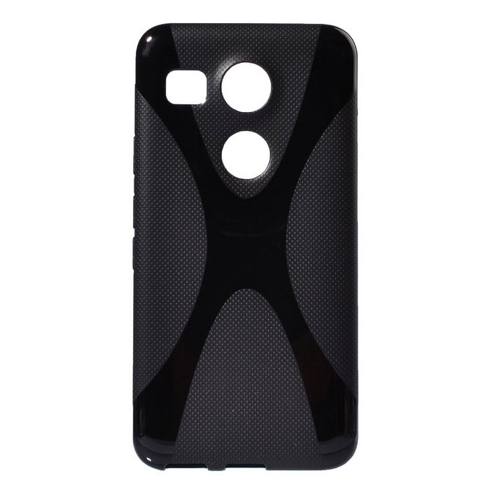 """X"" Style Protective TPU Back Case for Google Nexus 5X - Black"