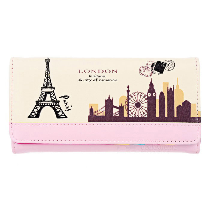 Printed PU Long Wallet Purse for Women - Watermelon Red + Beige
