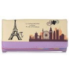 Printed PU Long Wallet Purse Clutch for Women - Purple + Black