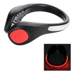 Cycling Jogging Red Safety Warning Shoes Wrist LED Light Clip - Black