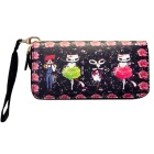 Cute Cartoon Pattern PU Long Wallet for Women - Black + Pink + Multicolor