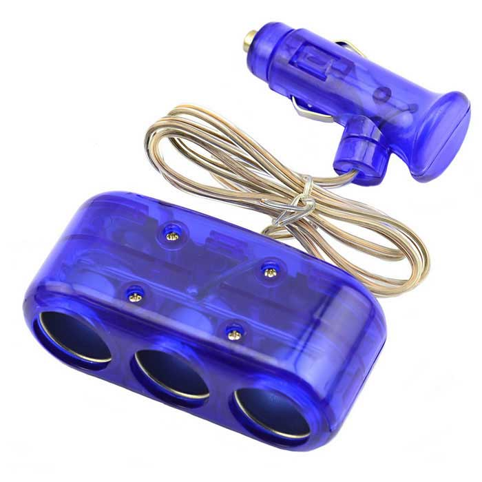 Jtron DC 12V/24V 5A 60W 3-Socket Car Cigarette Lighter - Deep Blue