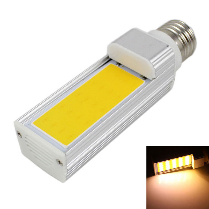 E27 7W COB LED Bulb Lamp Warm White Light 3000K 560lm - Silver (AC 85~265V)