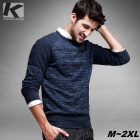 KUEGOU Men's Fashion Round Neck Pullover Sweater - Blue (XXL)