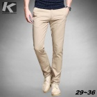 KUEGOU Men's Casual Cosy Cotton Long Pants Trousers - Khaki (33)